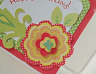 Happy Birthday Cheery Flower Card - Closeup